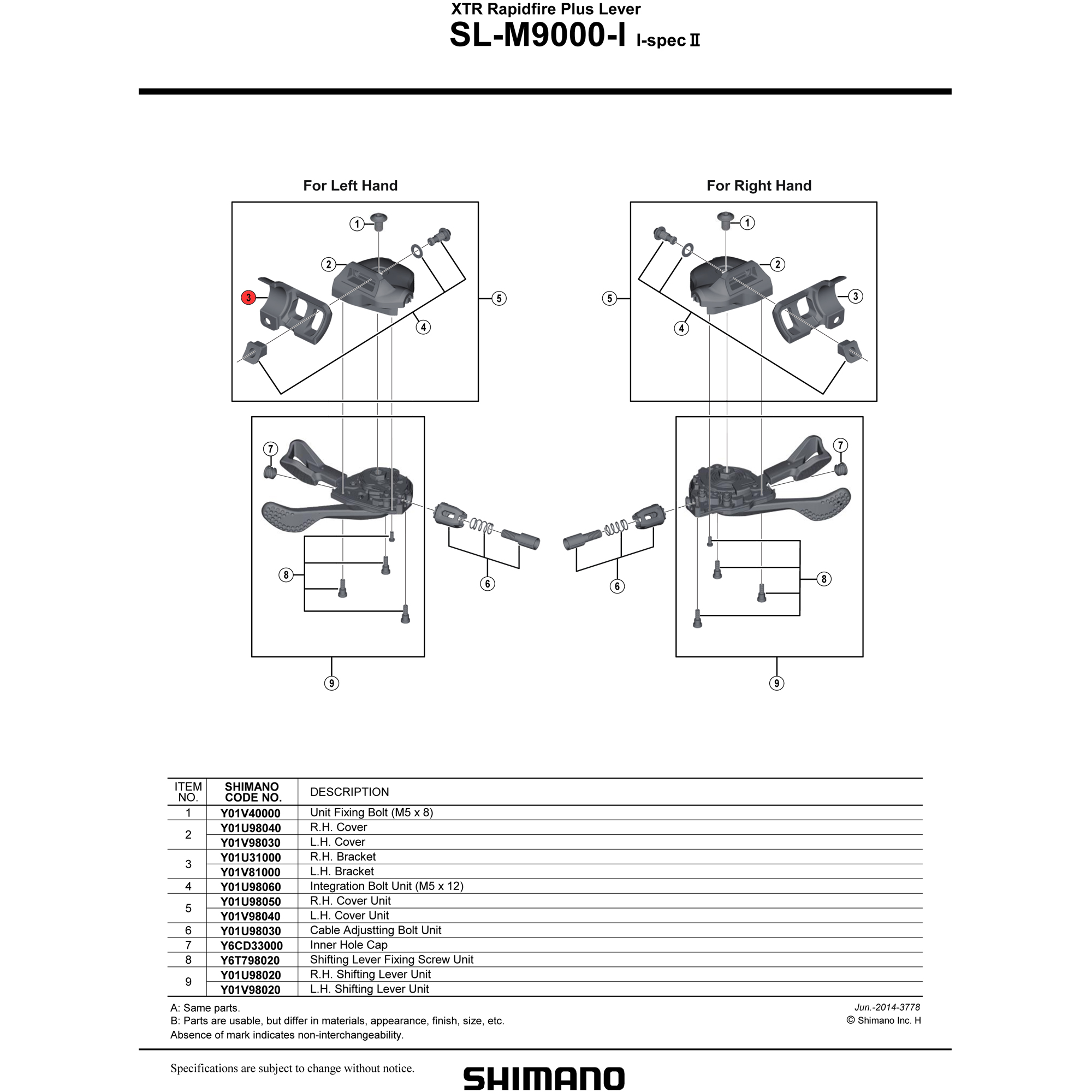 Left Hand Shimano XTR SL-M9000-I I-Spec-II Rapidfire Plus Lever Cover Unit